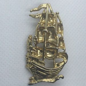 Vintage Gold Pirate Ship Sphinx ? Brooch